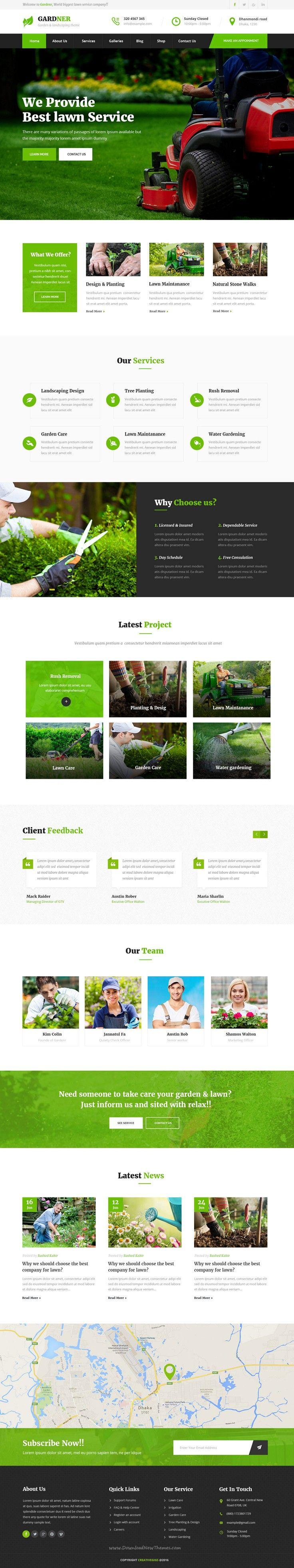 Gardner Garden Landscaping Psd Template Web Layout Design Modern Landscape Design Design