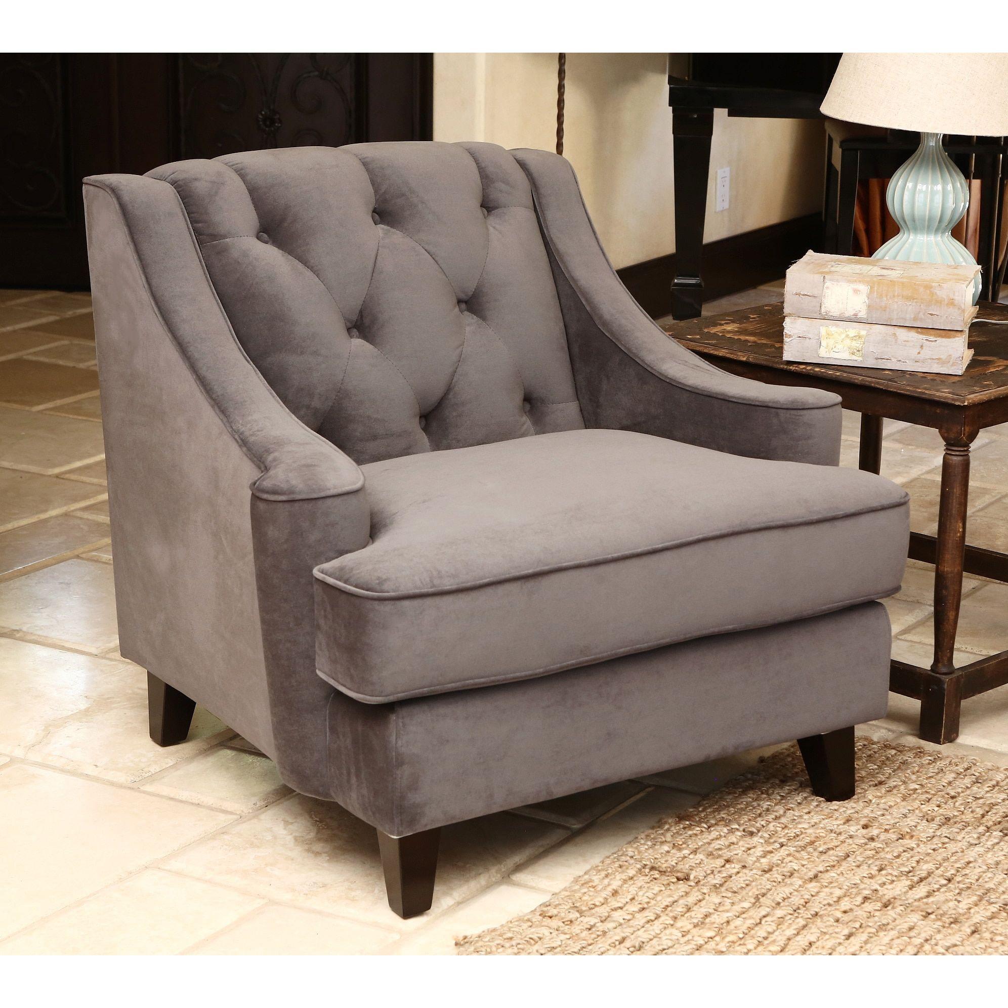 grey tufted velvet chair