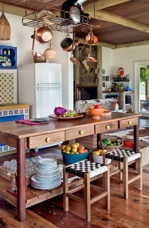 O aconchego (e funcionalidade!!) da cozinha de roça na sua casa ...
