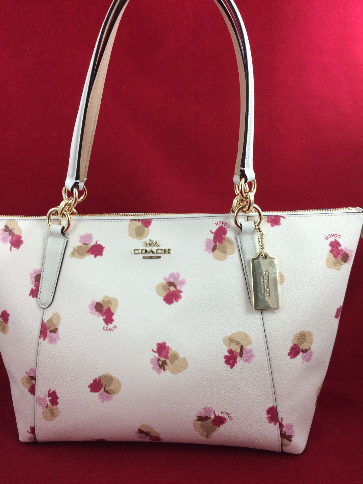 New COACH F55192 AVA Field Floral Canvas Tote Handbag Purse Shoulder Bag  Chalk f225aea18b