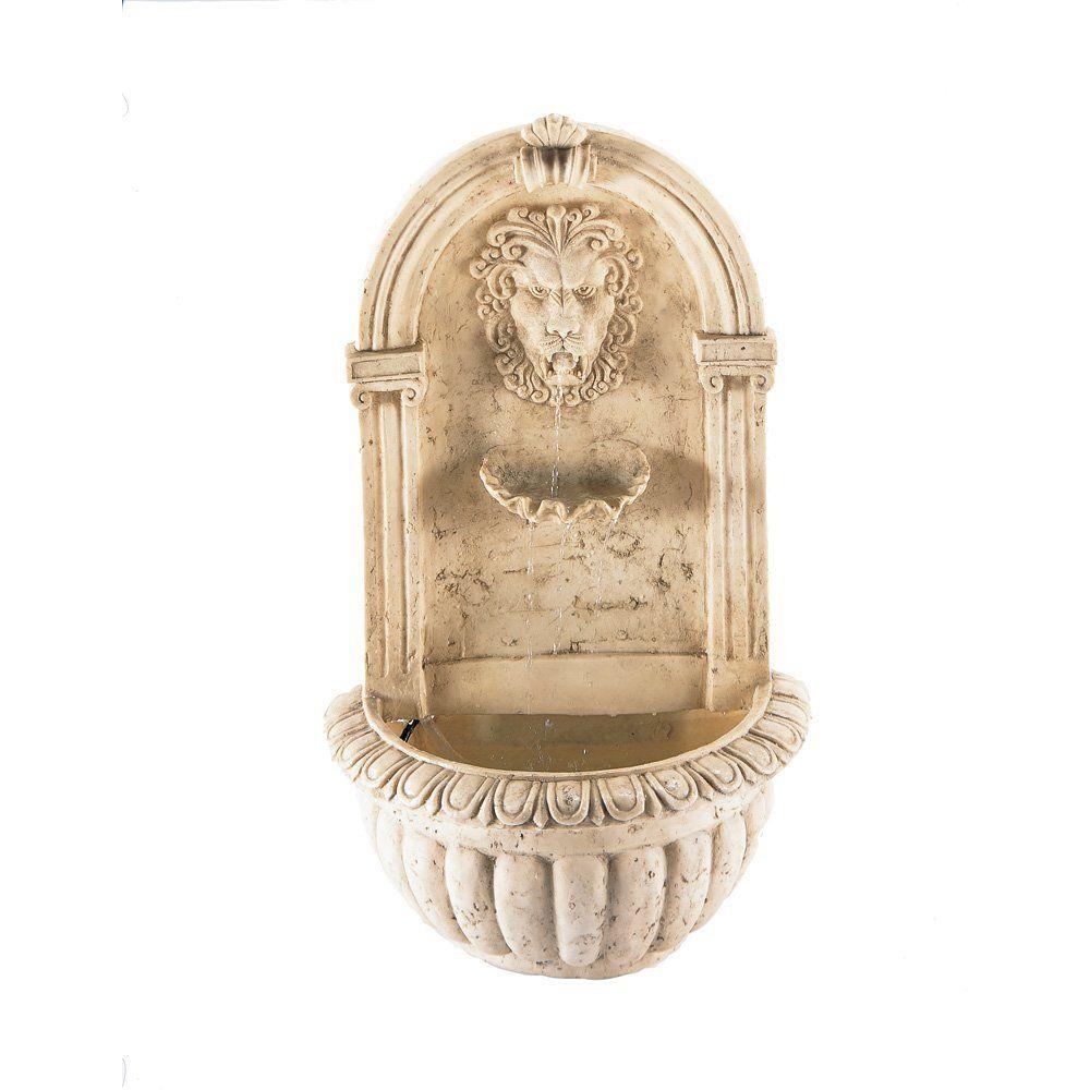Amazon.com   Lion Head Faux Stone Wall Fountain   Wall Mounted Garden  Fountains