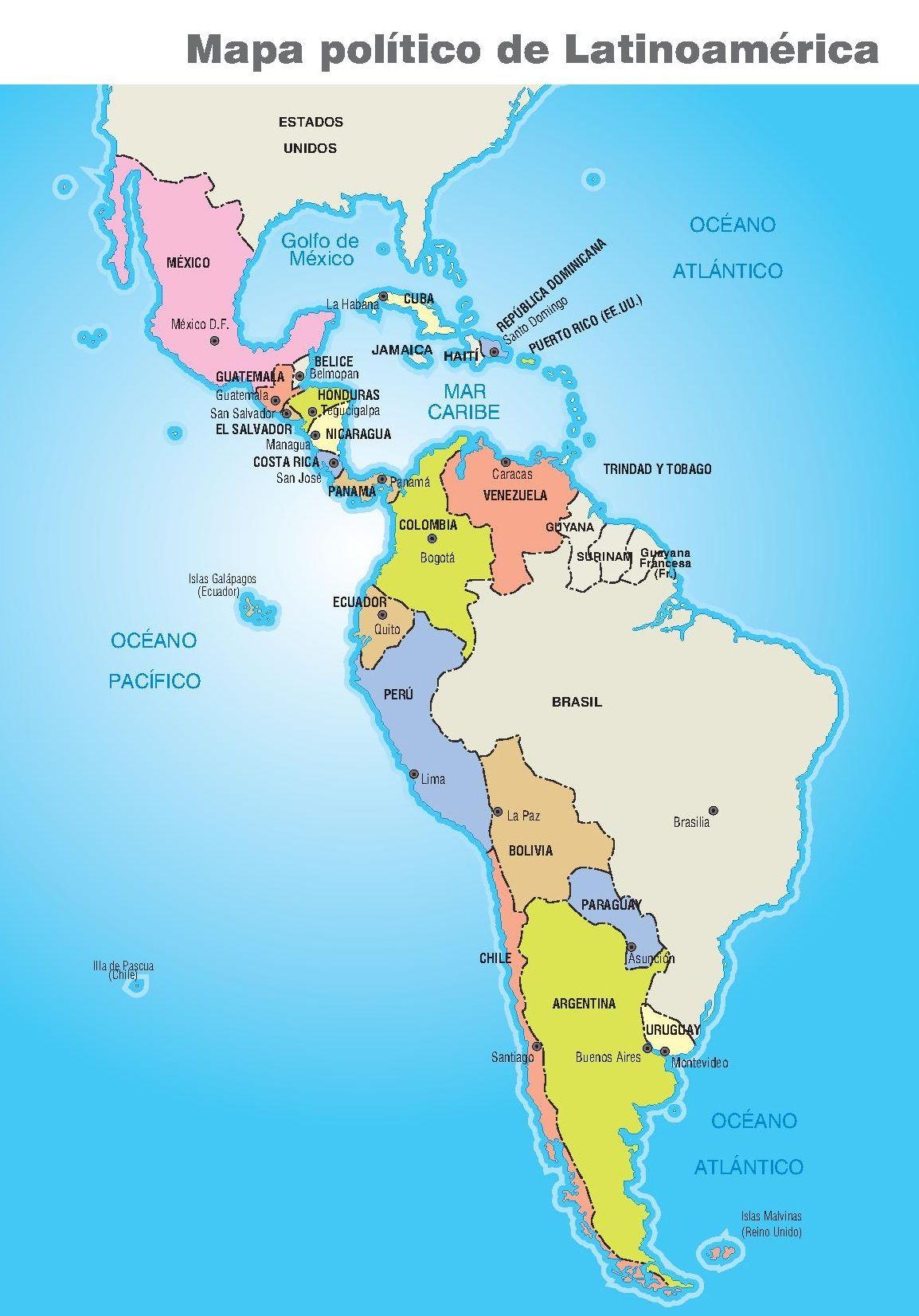 america latina mapa Mapa político de América latina. | escuela | Pinterest | America y  america latina mapa