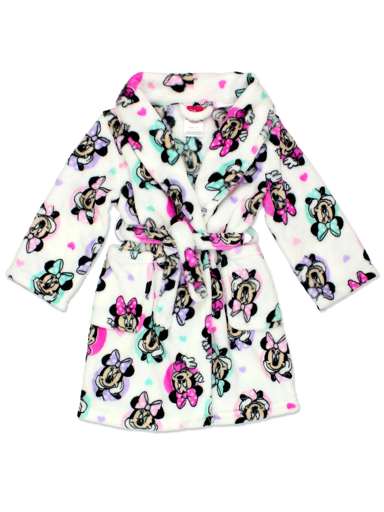Minnie Mouse Girls Plush Fleece Bathrobe Robe (Toddler Little Kid Big Kid)  Get ready for bed in this adorable c35783a78