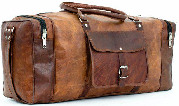 Genuine Leather Luggage Bag High Quality Travel Duffle Holdall Sport Gym Bag NEW