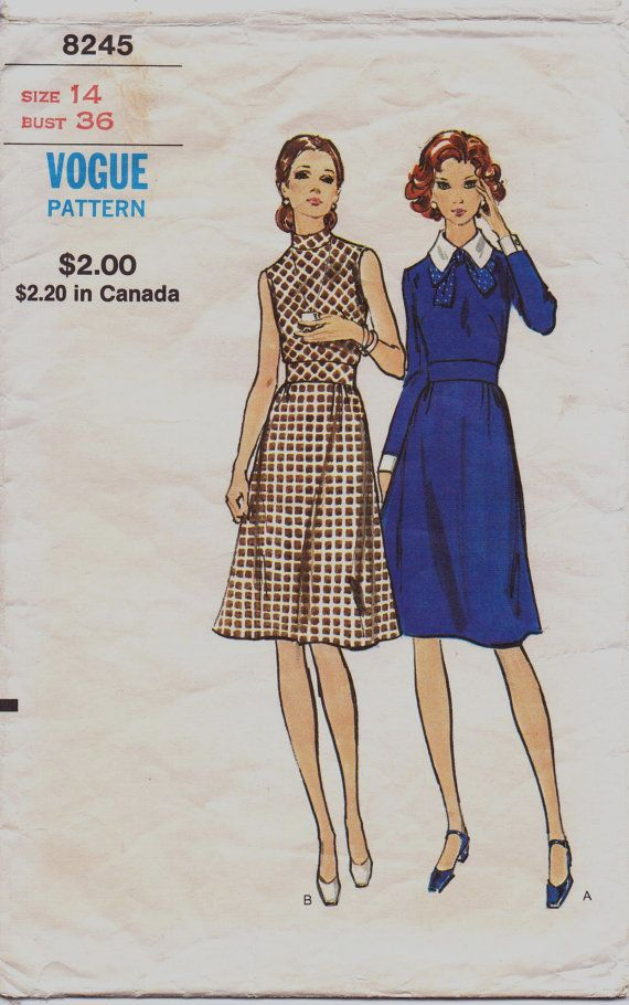 Vintage 70s Vogue Sewing Pattern 8245 Womens Bias Fitted Top Wide ...