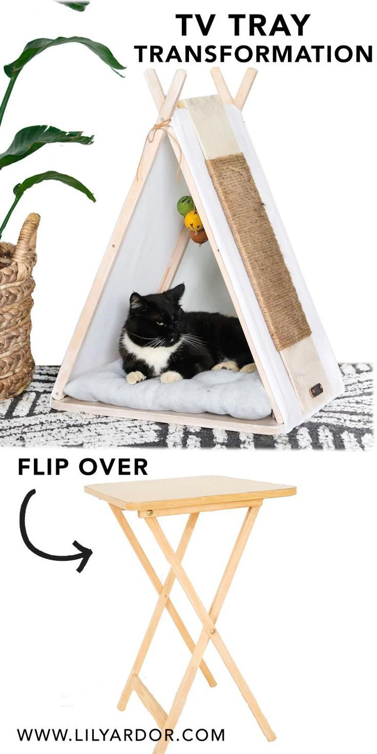 DIY Cat house (Tepee from An Old Tv Tray)