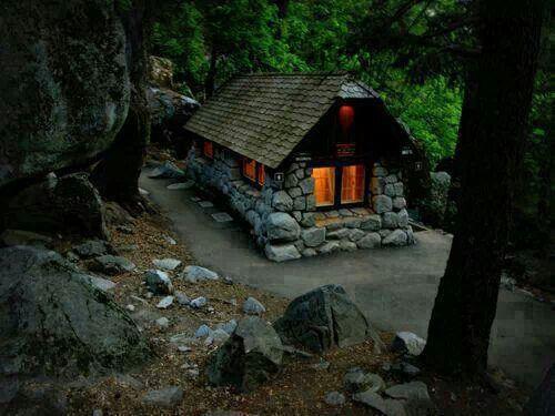 Marvelous Little Cabin Yosemite CaliforniaCalifornia UsaStone CabinForest