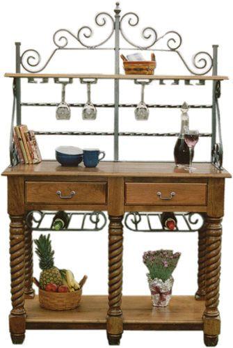Amish Kitchen Bakers Rack Tuscany Wrought Iron Wood Wine Buffet
