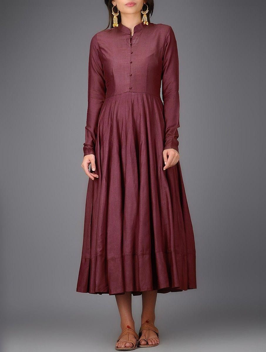 Buy Maroon Mandarin Collar Cotton Silk Anarkali Dress Women