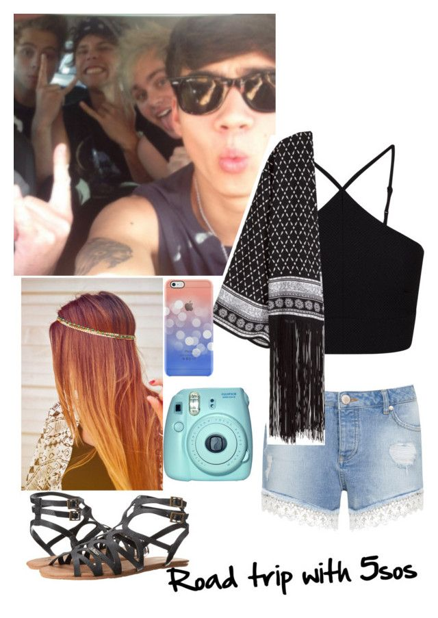 """""""Road trip with 5sos"""" by rainbow22xd ❤ liked on Polyvore featuring Miss Selfridge, H&M, Volcom, Fuji and Uncommon"""
