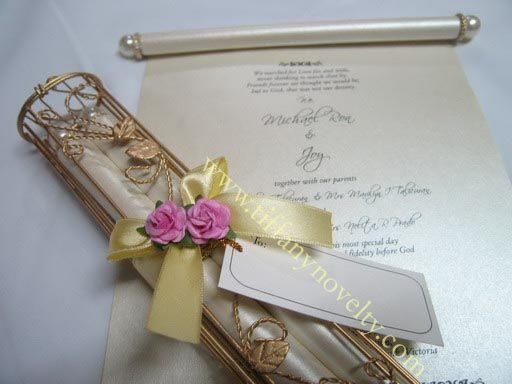 beautiful scroll wedding invitation