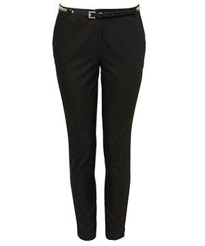 Black Soft Belt Slim Leg Trousers    E S S E N T I A L