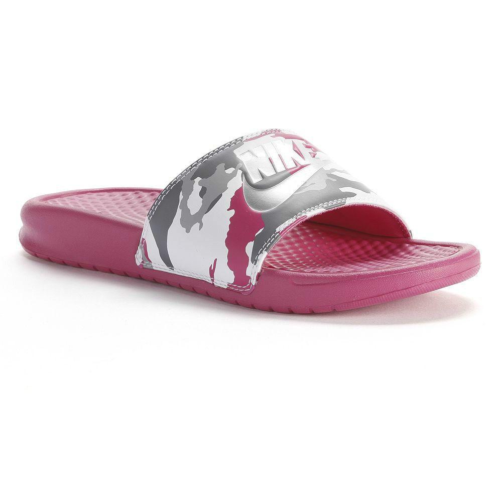 Women's NIKE Benassi JDI Flip Flop Sandal PINK GRAY CAMO 6 7 8 9 10 11