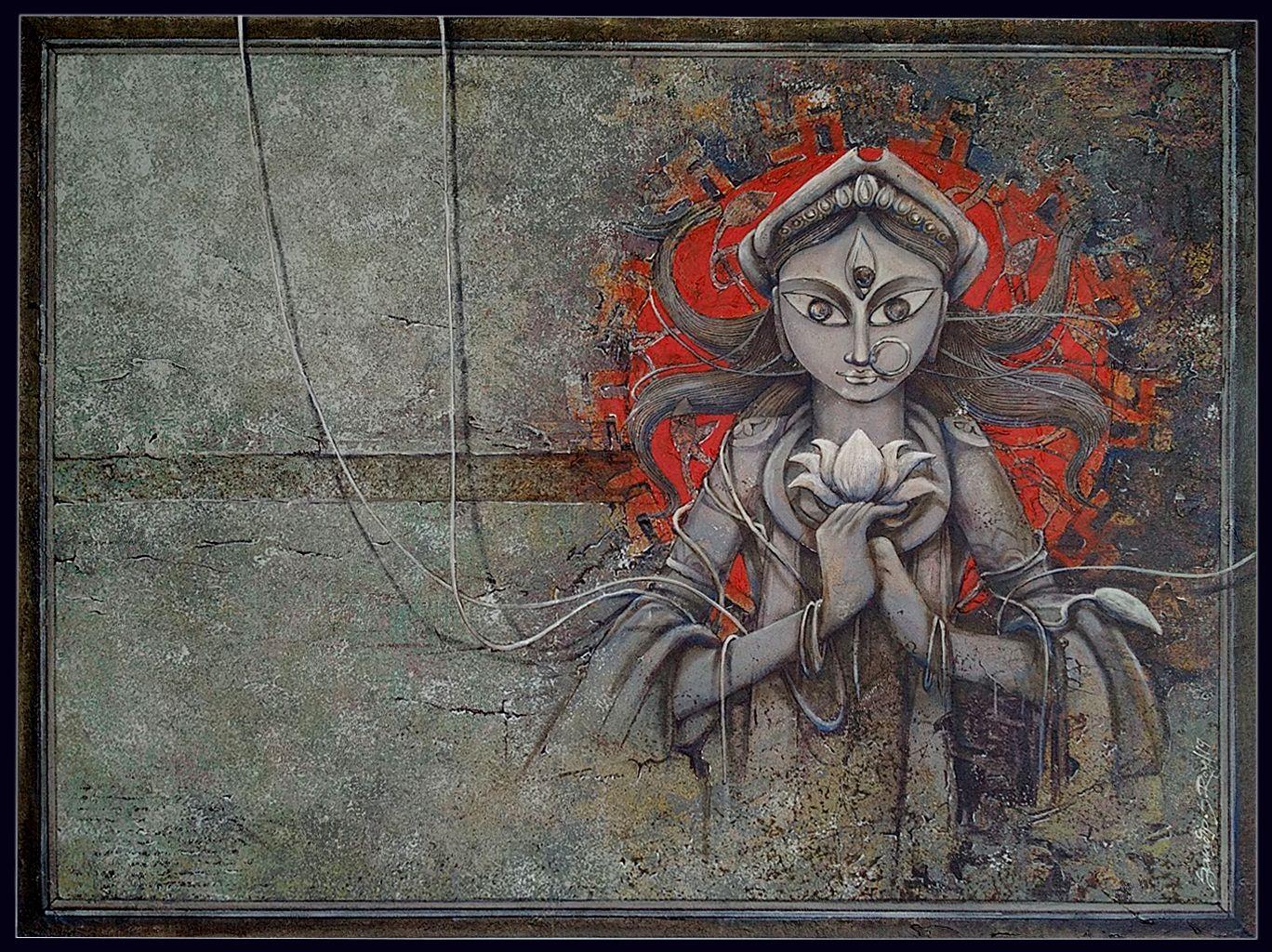 Maa Durga in 2020 Indian art paintings, Indian art