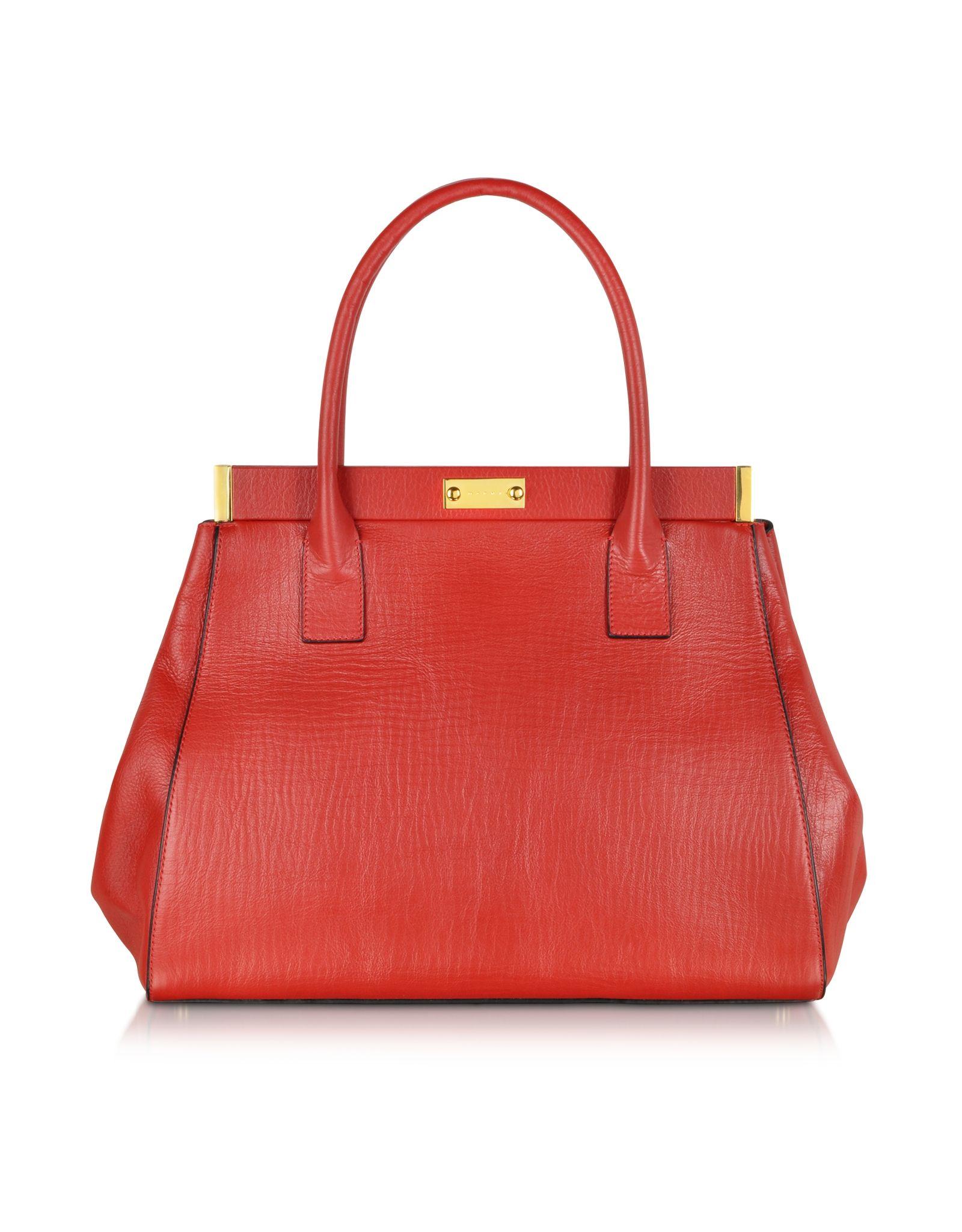 Marni Deep Red Leather Handbag at FORZIERI e1f8fe84c0320