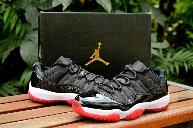 30ba656719ec72 New Air Jordan 11 Low Bred Black Varsity Red White 528895 012 Discount Sale