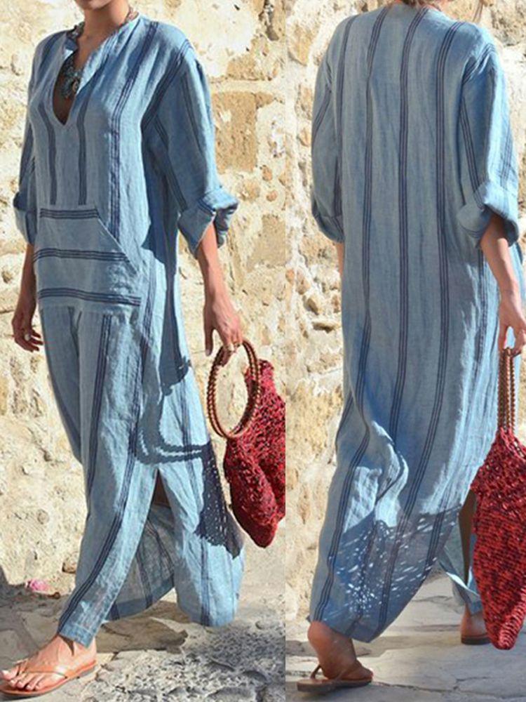 940ee64c04 Casual Women Boho Cotton Linen V-Neck Long Sleeve Striped Loose Dress
