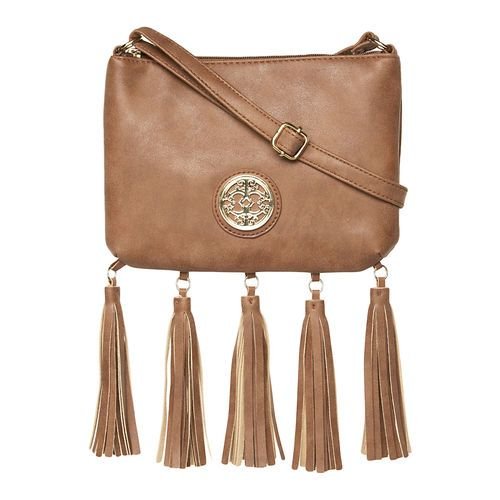 Nubuck Crossbody Bag with Tassels, Taupe. The bag to pair with any outfit this summer!  #gordmans #accessories