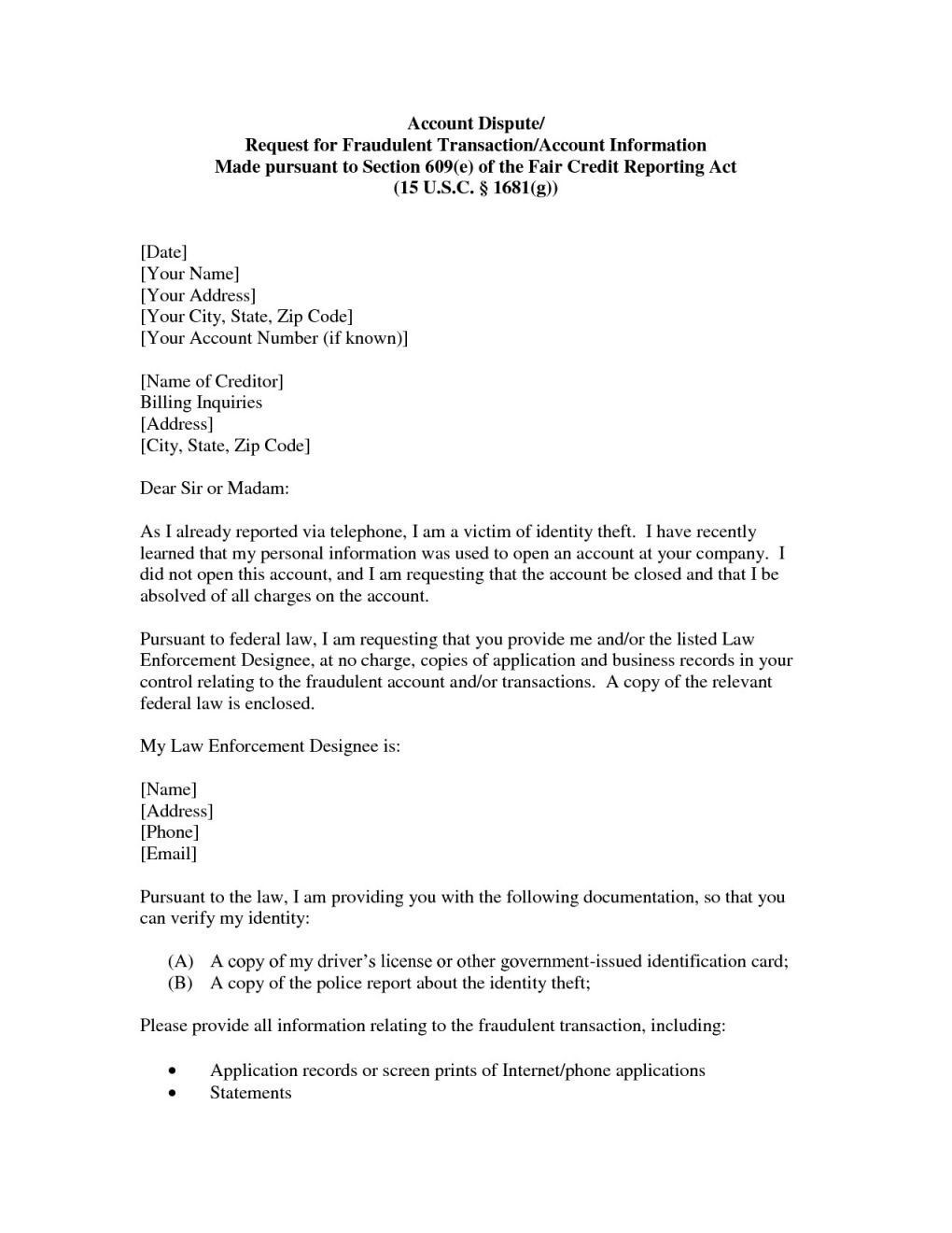 The amazing Credit Repair Letter Section 609 Dispute