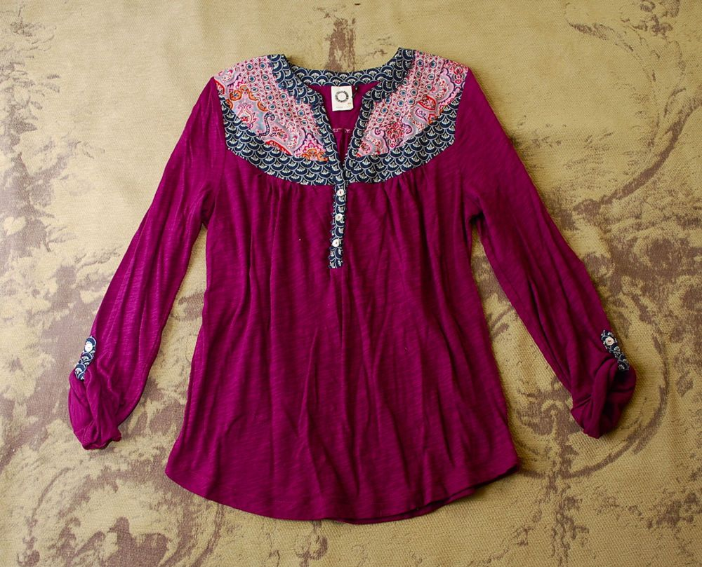 ANTHROPOLOGIE AKEMI + KIN PURPLE KNIT BOHO PATCHWORK HENLEY SHIRT TOP S 2 4 #Anthropologie #KnitTop #Casual
