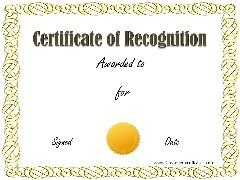 Sample recognition award awards certificates template sample recognition award yadclub Image collections