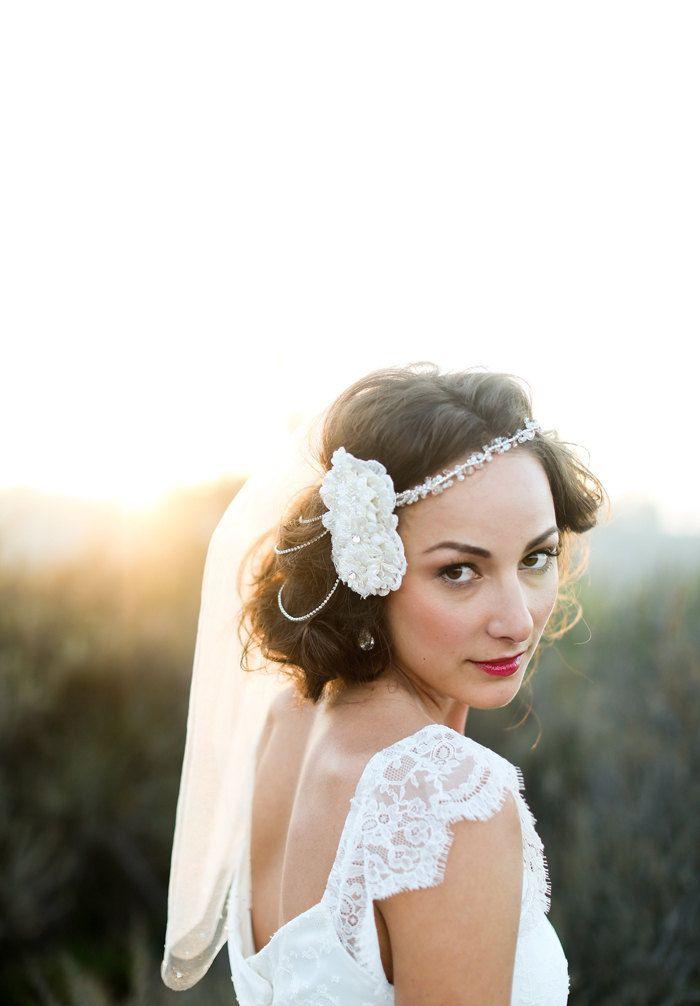 "As Seen on Green Wedding Shoes- Crystal Embellished ""Susan"" Bridal Veil. $225.00, via Etsy."