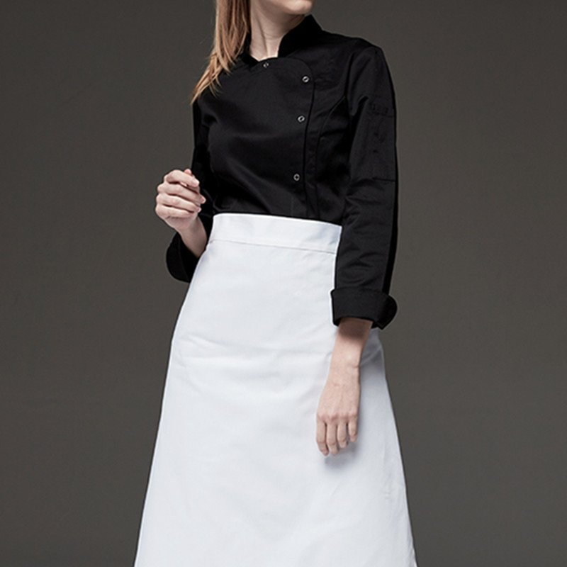 Female Black White Long Sleeve Chef Jacket in 2020 White