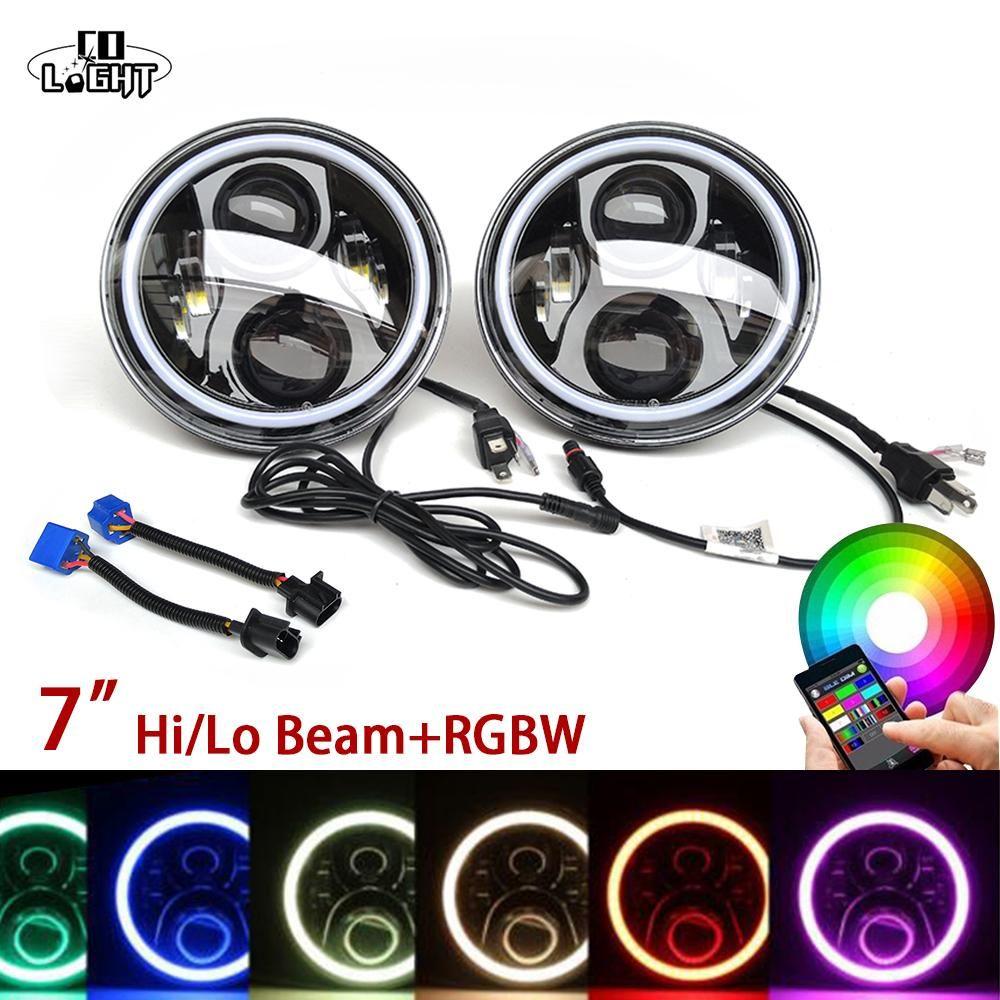 "Color RGB 1950-1979 VW Volkswagen Beetle Classic 7/"" Halo Angel Eyes Headlights"