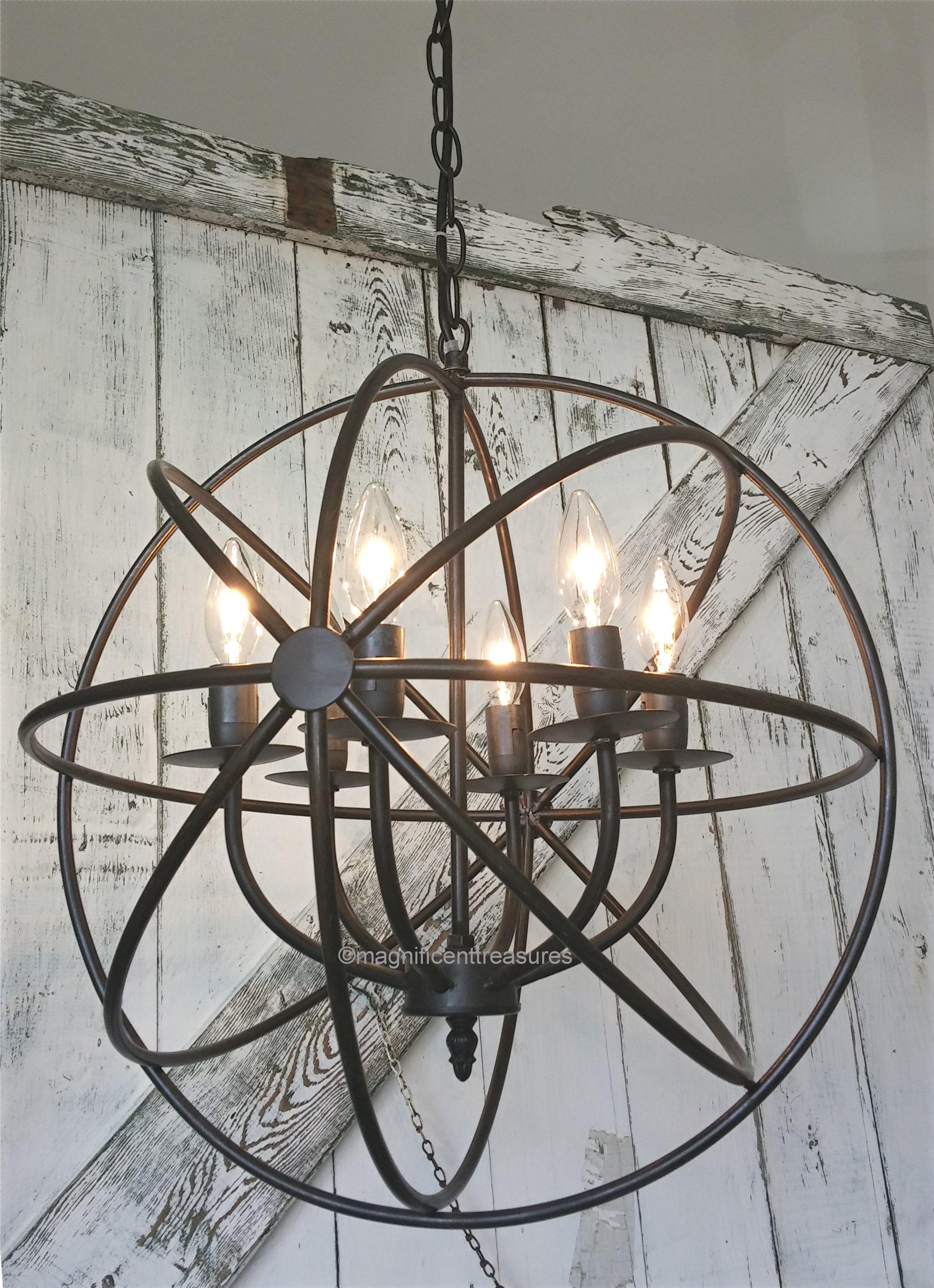 Industrial Rustic Metal Round Armillary Sphere Chandelier Light