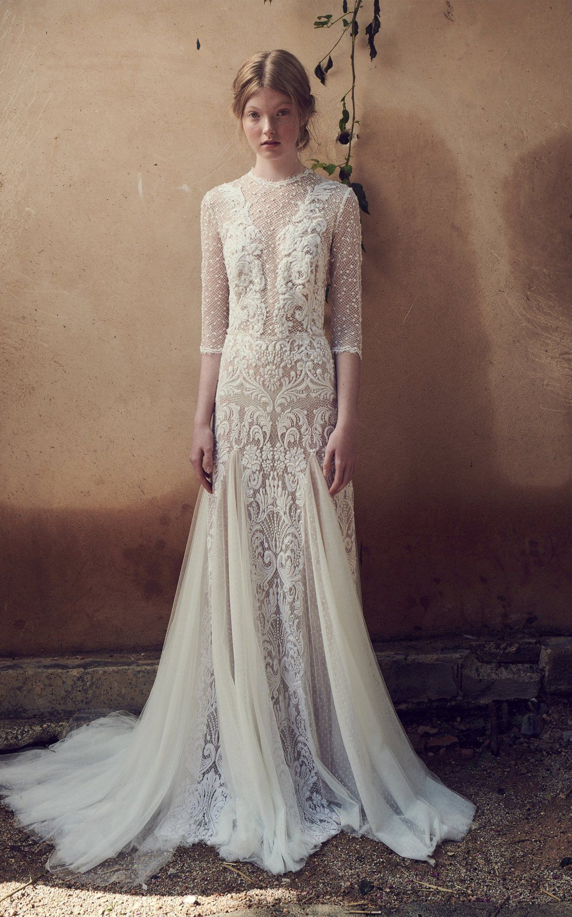 Mesh Bodice Edging Embroidered Tulle Long Godet Dress By