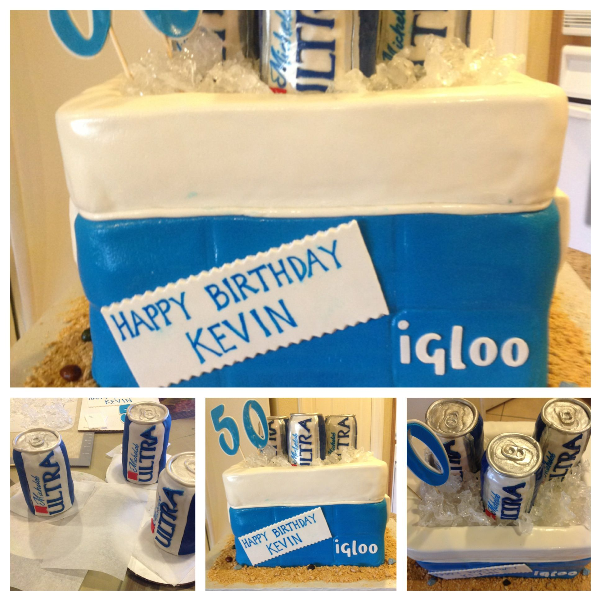 Ultra Gifts Gift Ideas: Ice Chest Cake With Edible Michelob Ultra Beer And Crushed