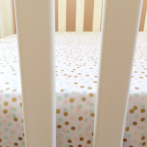 Peach mint and gold confetti fitted crib sheet / by LoveAndCountry