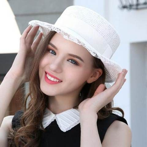 White lace boater hat for women UV summer beach straw sun hats ... 7370cc19333