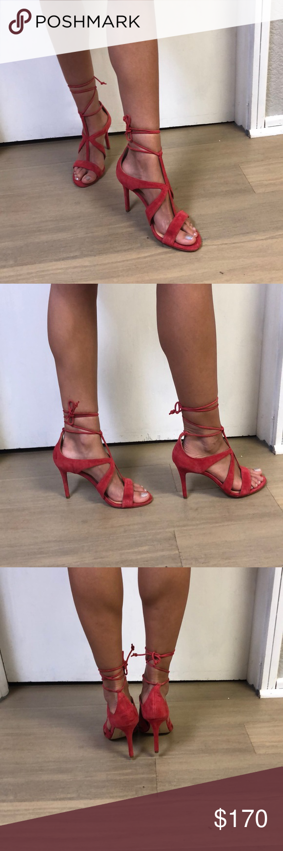 daa4594dc64592 Jordans · Sandal · Halston Heritage red suede ankle tie heel Brand New.  Never worn. Add an ambitious