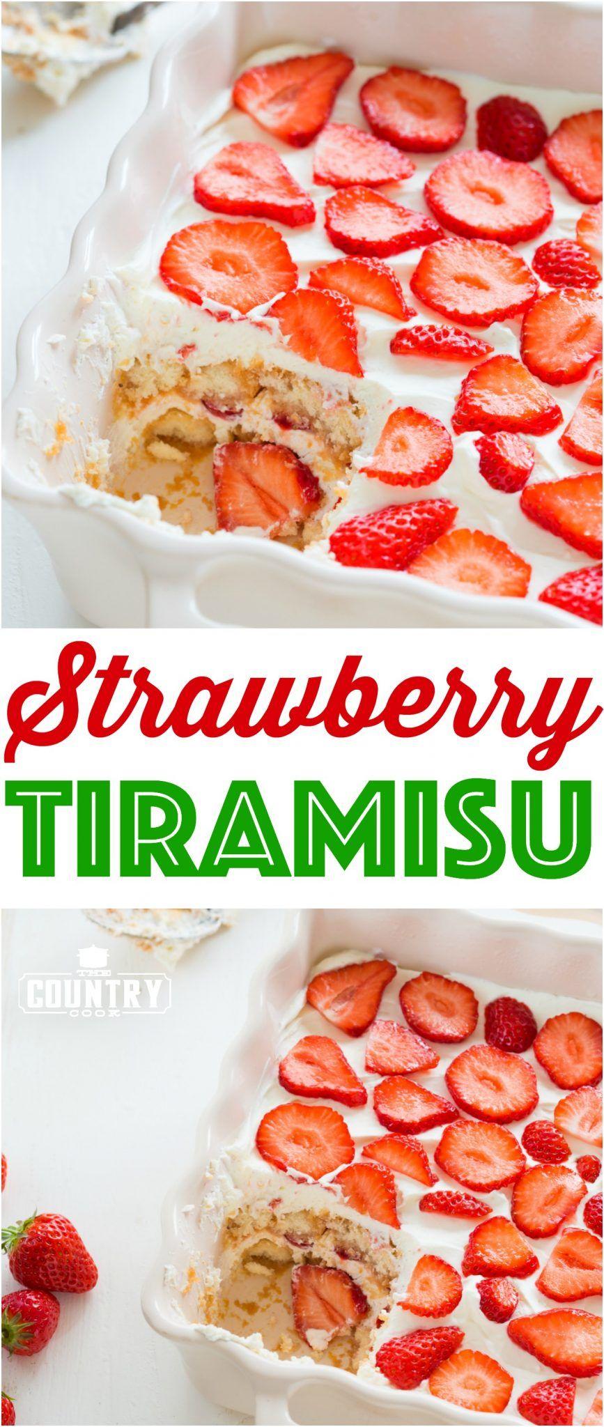 No-Bake Strawberry Tiramisu recipe from The Country Cook