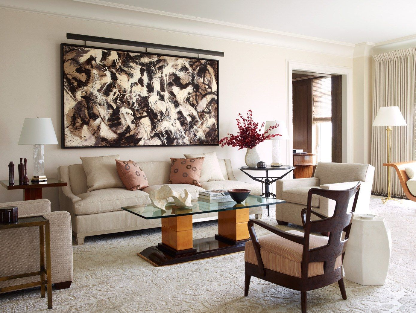 david kleinberg designs a warm and modern manhattan apartment manhattan designers A New York City Apartment Made Over by David Kleinberg | A Lee Krasner  artwork hangs on a nearby wall.