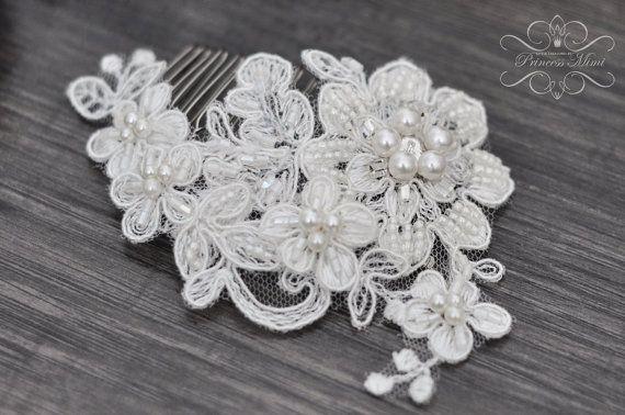 Braut Headpiece  Spitze  Haarkamm Kopfschmuck von MimiPrincess