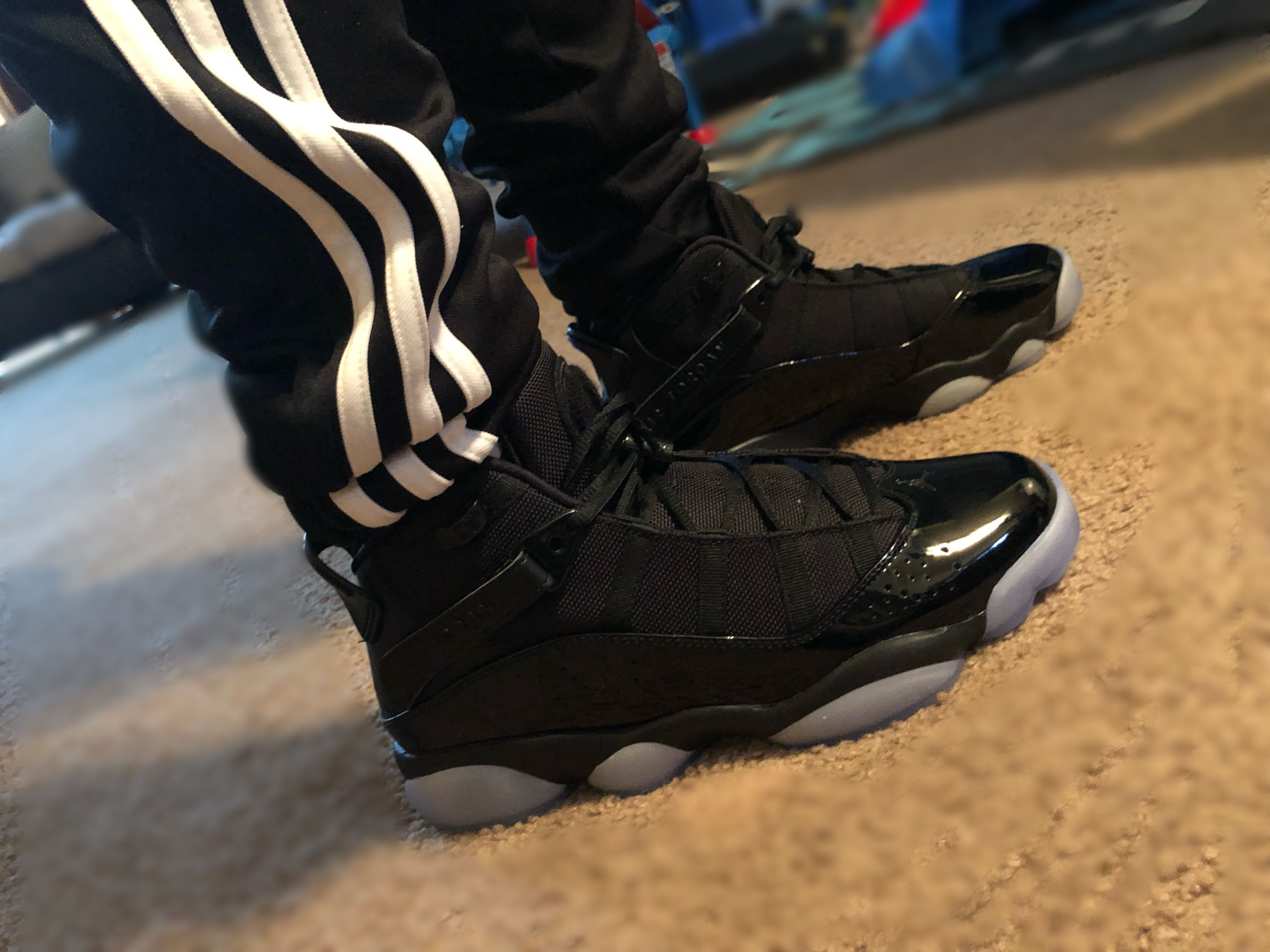 Jordan's 6 Rings All black with clear blue. | My styles in