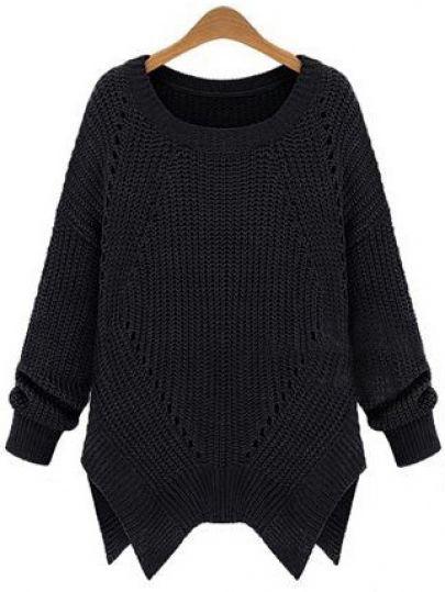 Black Long Sleeve Hollow Asymmetrical Sweater