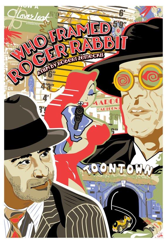 Affiche Roger Rabbit who framed roger rabbit (1988) inspired original movie poster, 'the