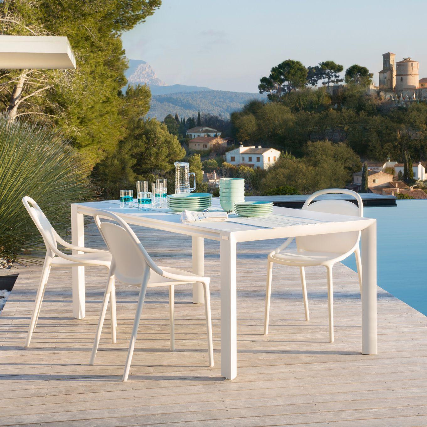 Blanche Table de jardin rectangulaire en aluminium laqué blanc ...