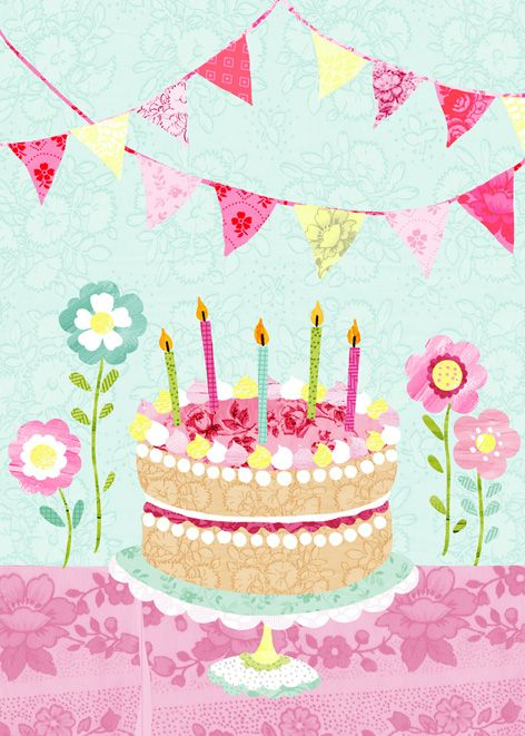 Birthday Cake And Bunting A Greetings Card Design By Imogen Hudson
