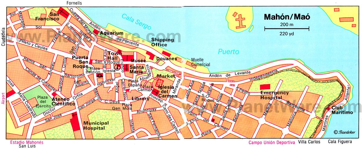 Mahon Map Tourist Attractions Menorca Pinterest Balearic