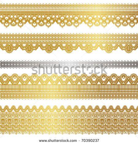 Lace Set Gold Printable Design Elements Art Deco Borders