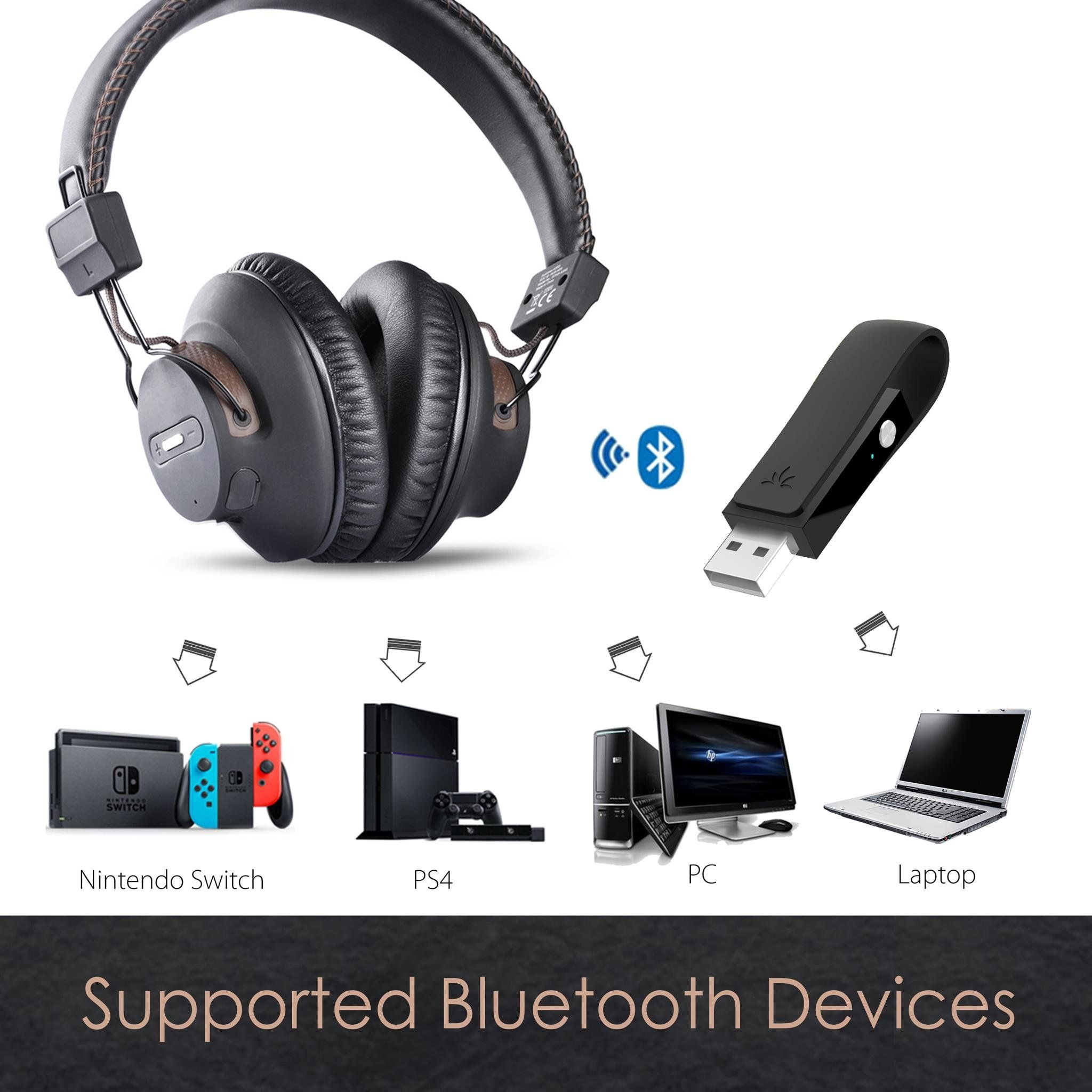 Avantree Dg59 Wireless Ps4 Gaming Headphones With Bluetooth Usb Audio Transmitter Set For Pc Nintendo Switch De Gaming Headphones Headphones Audio Transmitters