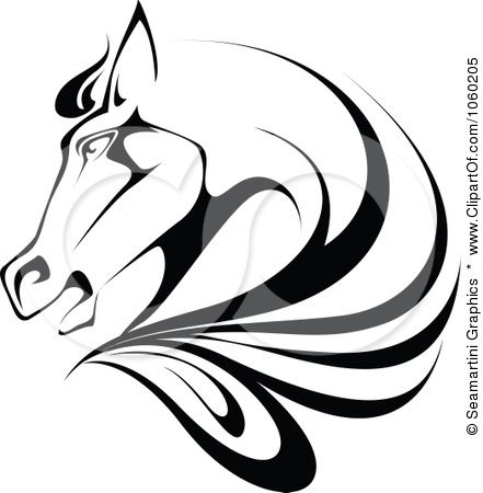 royalty free vector clip art illustration of a black and white horse head logo line drawings. Black Bedroom Furniture Sets. Home Design Ideas