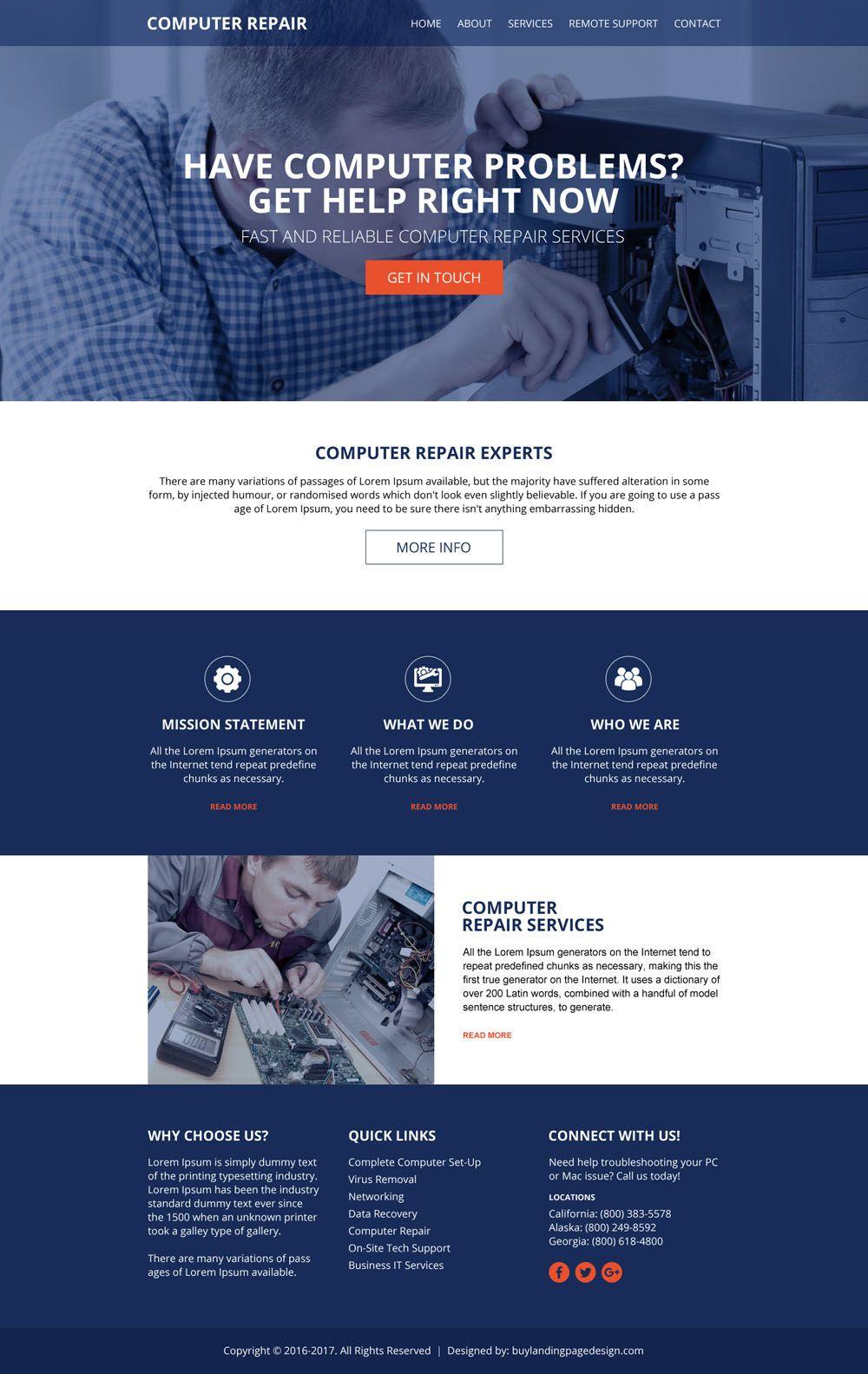 computer repair services html website design template | html website