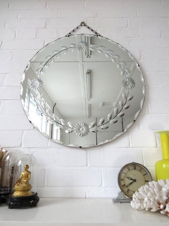 Vintage Extra Large Round Art Deco Bevelled Edge Wall Mirror Engraved Pattern Mirror Wall Art Deco Wall Mirror Antique Wall Decor