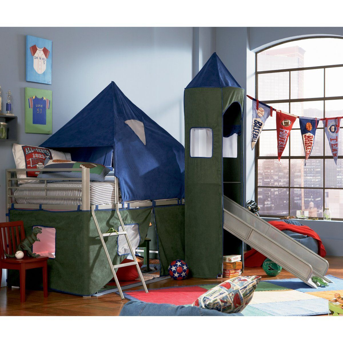 Loft bed with slide wayfair  Blue and Green Twin Tent Loft Bed with Slide  Bunk Beds for Kids