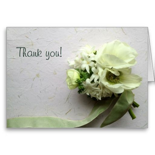 White spring flowers with ribbon thank you greeting cards #floralthankyoucard, #whiteflowerscard